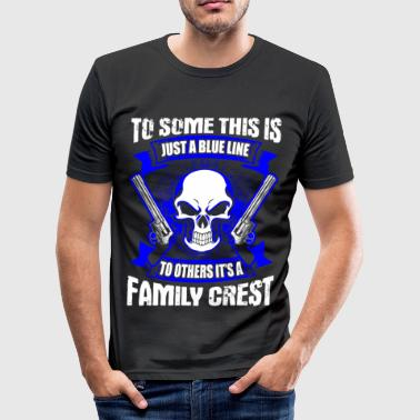 This Is Blue Family Crest - Blue Line - EN - Camiseta ajustada hombre