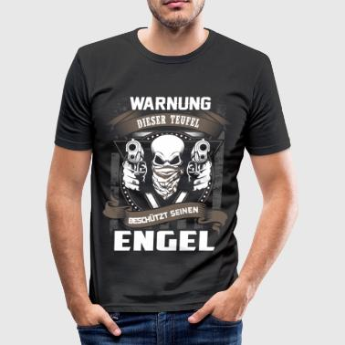 ADVERTENCIA - diablo protege Angel - DE - Camiseta ajustada hombre