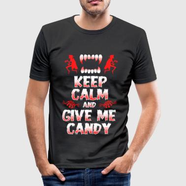 Keep Calm - Give me Candy - Halloween - Tee shirt près du corps Homme