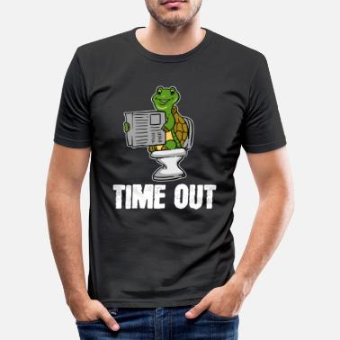 Klo Schildpad, dier, time-out, krant, toilet, cadeau, loo - slim fit T-shirt
