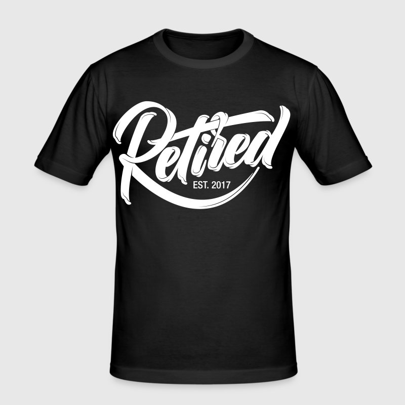 Retired EST. 2017 | Cool Logo Design - Men's Slim Fit T-Shirt