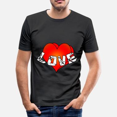 Love With Heart Big heart with love - Männer Slim Fit T-Shirt
