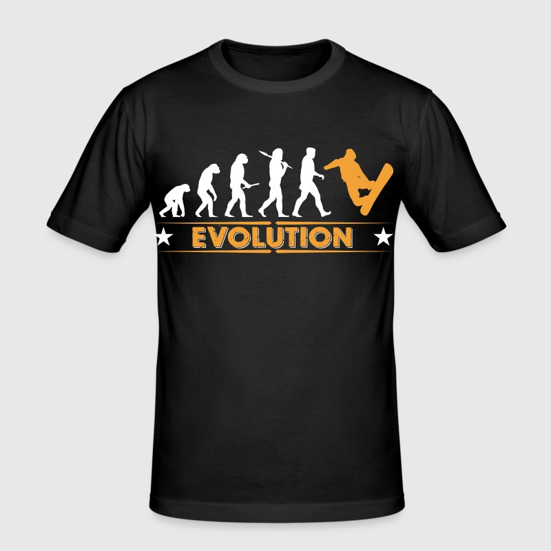 Snowboard Evolution - orange/weiss - Men's Slim Fit T-Shirt