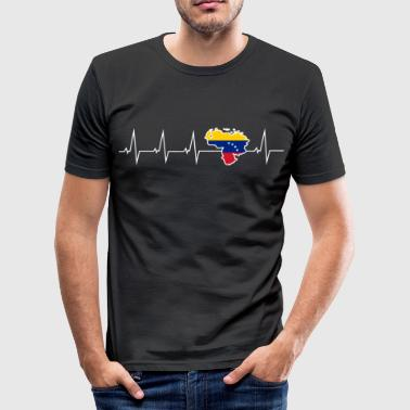 Venezuela I love Venezuela - heartbeat - Men's Slim Fit T-Shirt