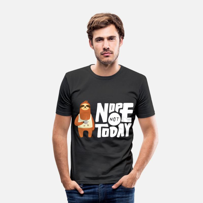 Grappige T-Shirts - Nope Not Today - Sloth Coffee - Mannen slim fit T-shirt zwart