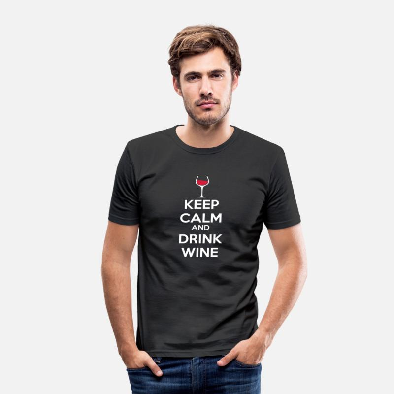 Alcool T-shirts - Keep Calm and drink wine - T-shirt moulant Homme noir