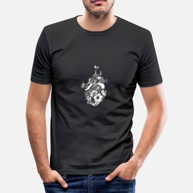 Black And White Collection V2 Heart grown - Men's Slim Fit T-Shirt