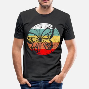 Garden Design Butterfly retro design garden - Men's Slim Fit T-Shirt