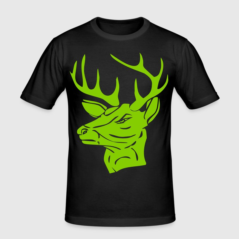 angry deer, wilder Hirsch - Men's Slim Fit T-Shirt