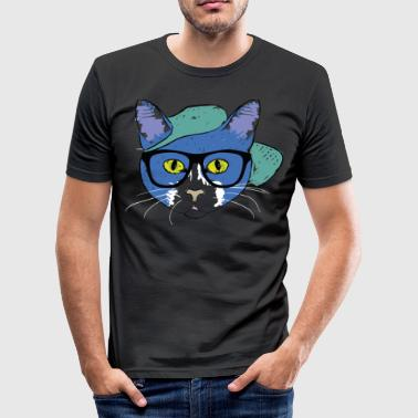 Glass Tiger Cat with hipster glasses - Men's Slim Fit T-Shirt