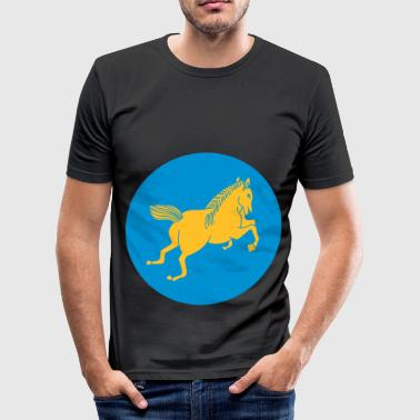 Backwards horse logo backwards backwards - Men's Slim Fit T-Shirt