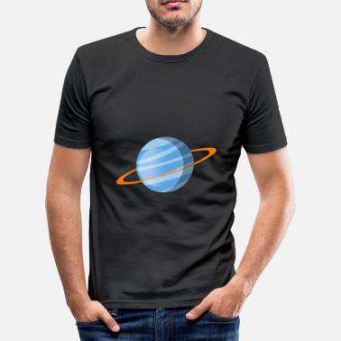 Planet Ring Blue planet with orange ring - Men's Slim Fit T-Shirt