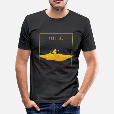 Surfer Design Surf - surf design en orange - T-shirt près du corps Homme