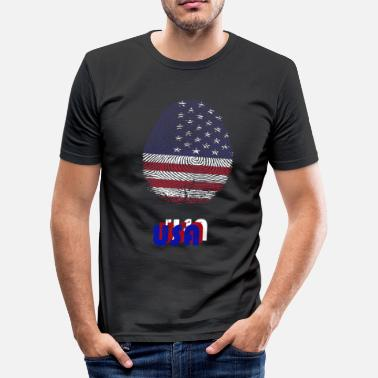 Biometric USA BIOMETRIC ID FINGERPRINT INDEPENDANCE DAY - Men's Slim Fit T-Shirt