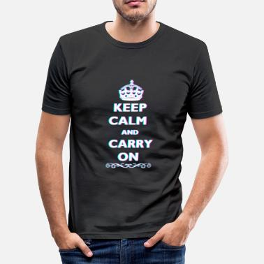 Anaglyph Keep Calm and Carry On 3D Anaglyph Cool Quote - Men's Slim Fit T-Shirt