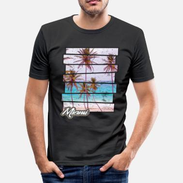Miami Miami Beach Paradise Sunset Retro Photo Island - Men's Slim Fit T-Shirt