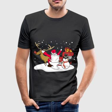Toilet Father Christmas Santa toilet reindeer gift - Men's Slim Fit T-Shirt