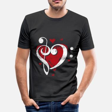 Bass Clef Treble Treble clef bass clef clef heart - Men's Slim Fit T-Shirt
