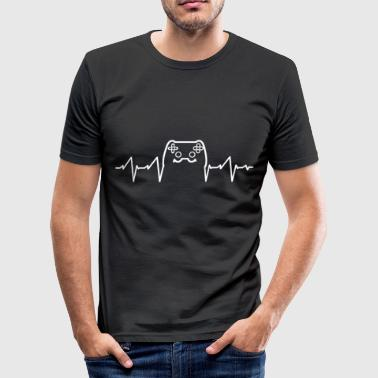 Funny Video Game Heartbeat - Gaming Video Games - Men's Slim Fit T-Shirt