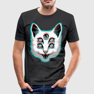 Glitch Cat - Männer Slim Fit T-Shirt