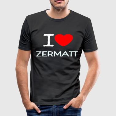 Zermatt I LOVE ZERMATT - Herre Slim Fit T-Shirt