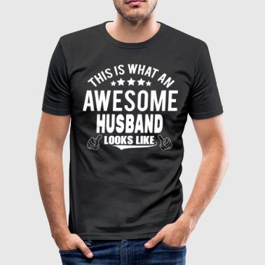 Anniversary THIS IS WHAT AN AWESOME HUSBAND LOOKS LIKE - Men's Slim Fit T-Shirt