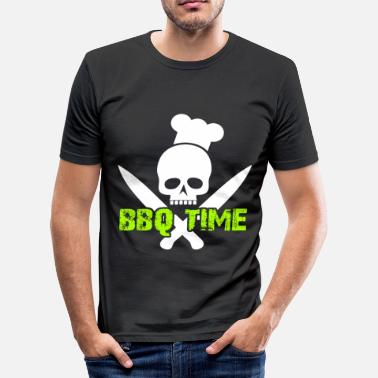 Knife Party BBQ Time Skull Knifes BBQ Fiesta BBQ Party - Camiseta ajustada hombre