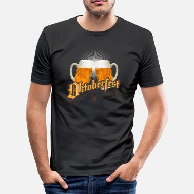 Picole Oktoberfest vintage beer garden humpen prost wiesn - Men's Slim Fit T-Shirt