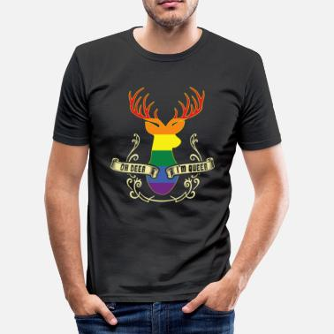 Deer Hunting Oh Deer I'm Gay Gay Pride LGBT LGBTQ Gift - Men's Slim Fit T-Shirt