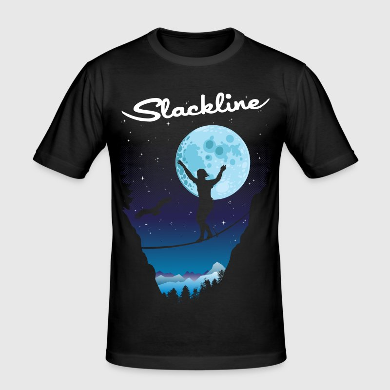 Slack line by night - Men's Slim Fit T-Shirt