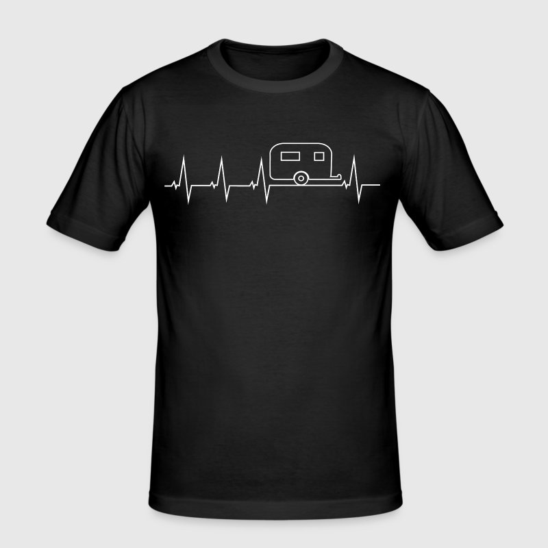 I love camping - heartbeat - Men's Slim Fit T-Shirt