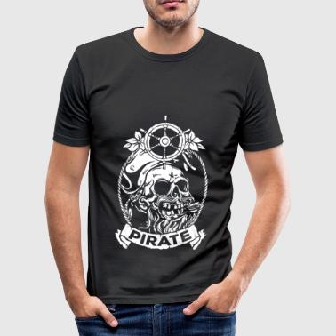 Piraterie Pirat Kapitän Halloween Totenkopf - Männer Slim Fit T-Shirt