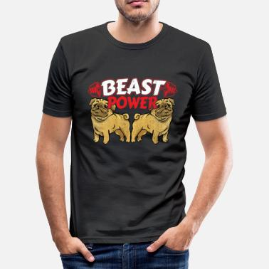 Power Lifting Pug Dogs Weight Lifting Gym Workout - Beast Power - Slim Fit T-shirt herr