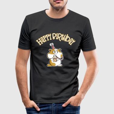 Hamsterbacke Comic Happy Birthday Hamster - Geburtstag - Männer Slim Fit T-Shirt