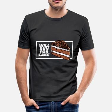 Funny Running Cake Cake Foodie Run For Cake. Sport. White. Funny - Men's Slim Fit T-Shirt