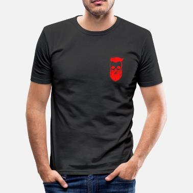 Bearded Skull bearded skull in red with sidecut - Men's Slim Fit T-Shirt