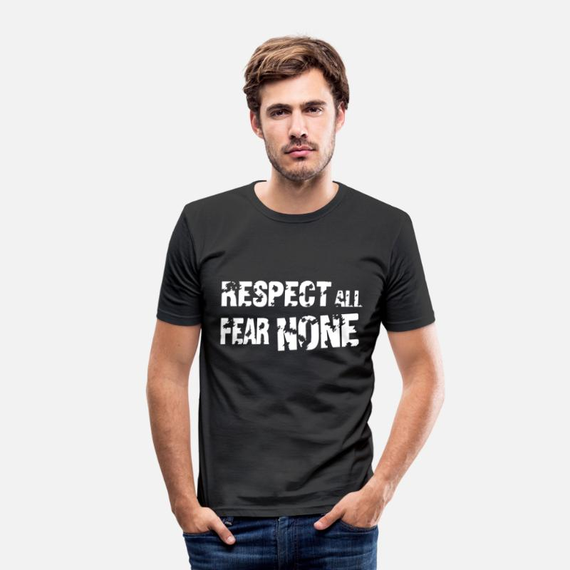 Crossfit T-Shirts - Respect All, Fear None - Men's Slim Fit T-Shirt black