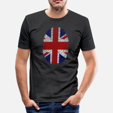 Finger Fingerprint United Kingdom fingerprint finger English flag - Men's Slim Fit T-Shirt