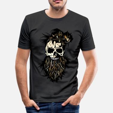 Nose Ring head of death skull hipster bearded beard ring nose - Men's Slim Fit T-Shirt