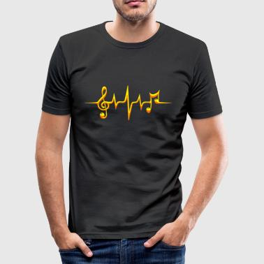 Music, pulse, notes, frequency, clef, bass, sheet - Tee shirt près du corps Homme