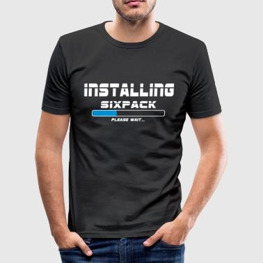 Loading Bar installing sixpack - Men's Slim Fit T-Shirt