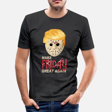 Anti Halloween Anti Trump mit Jason Maske - Männer Slim Fit T-Shirt