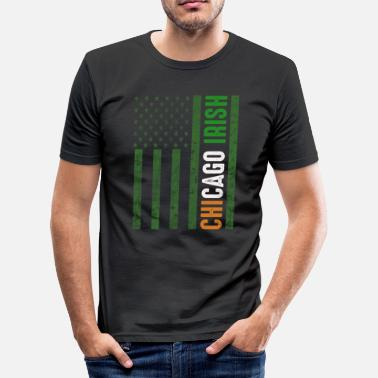 Pattys Ierse Chicago Flag St Patricks Day - slim fit T-shirt