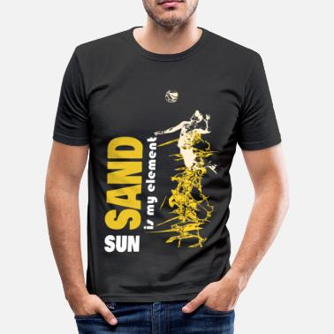 Beachvolleyball Sonne Beachvolleyballer, Sand, Sonne, Strand, Elemente - Männer Slim Fit T-Shirt