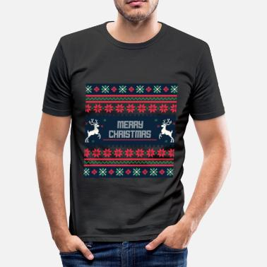 Rombe christmas strikkeoppskrift rombe hart st - Slim fit T-skjorte for menn