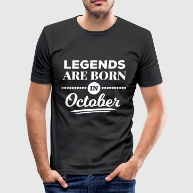 legendes worden geboren in oktober birthday oktober - slim fit T-shirt