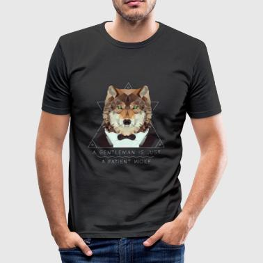 Low Poly Wolf Gentleman - Männer Slim Fit T-Shirt