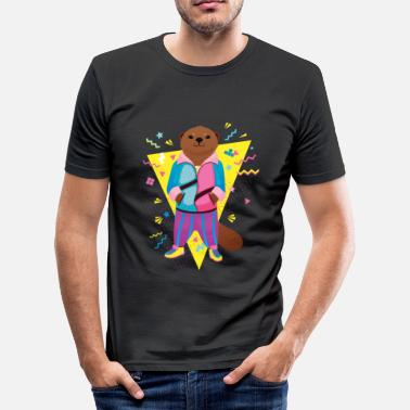 Cool 80's Otter - Männer Slim Fit T-Shirt