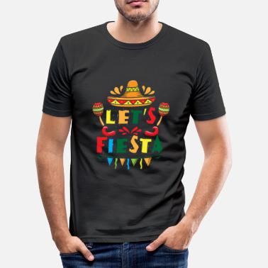 Mexicaans Let's Fiesta - sombrero mexican spanish holiday - slim fit T-shirt