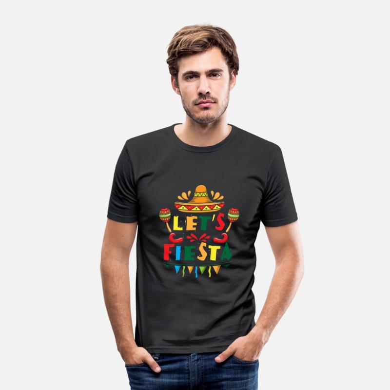 Mexicaanse T-Shirts - Let's Fiesta - sombrero mexican spanish holiday - Mannen slim fit T-shirt zwart